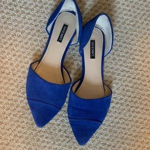 Cobalt blue leather ShoeMint d'orsay flats